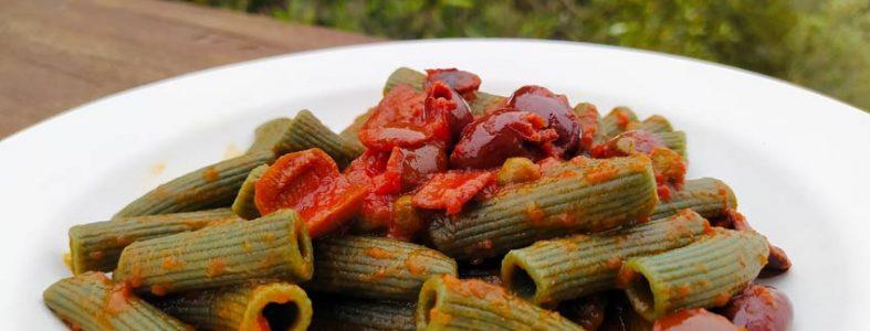 spirulina italiana biologica ricetta pasta salsa capperi mediterraneo